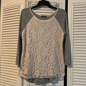 🔥 Market & Spruce Gray Lace Top